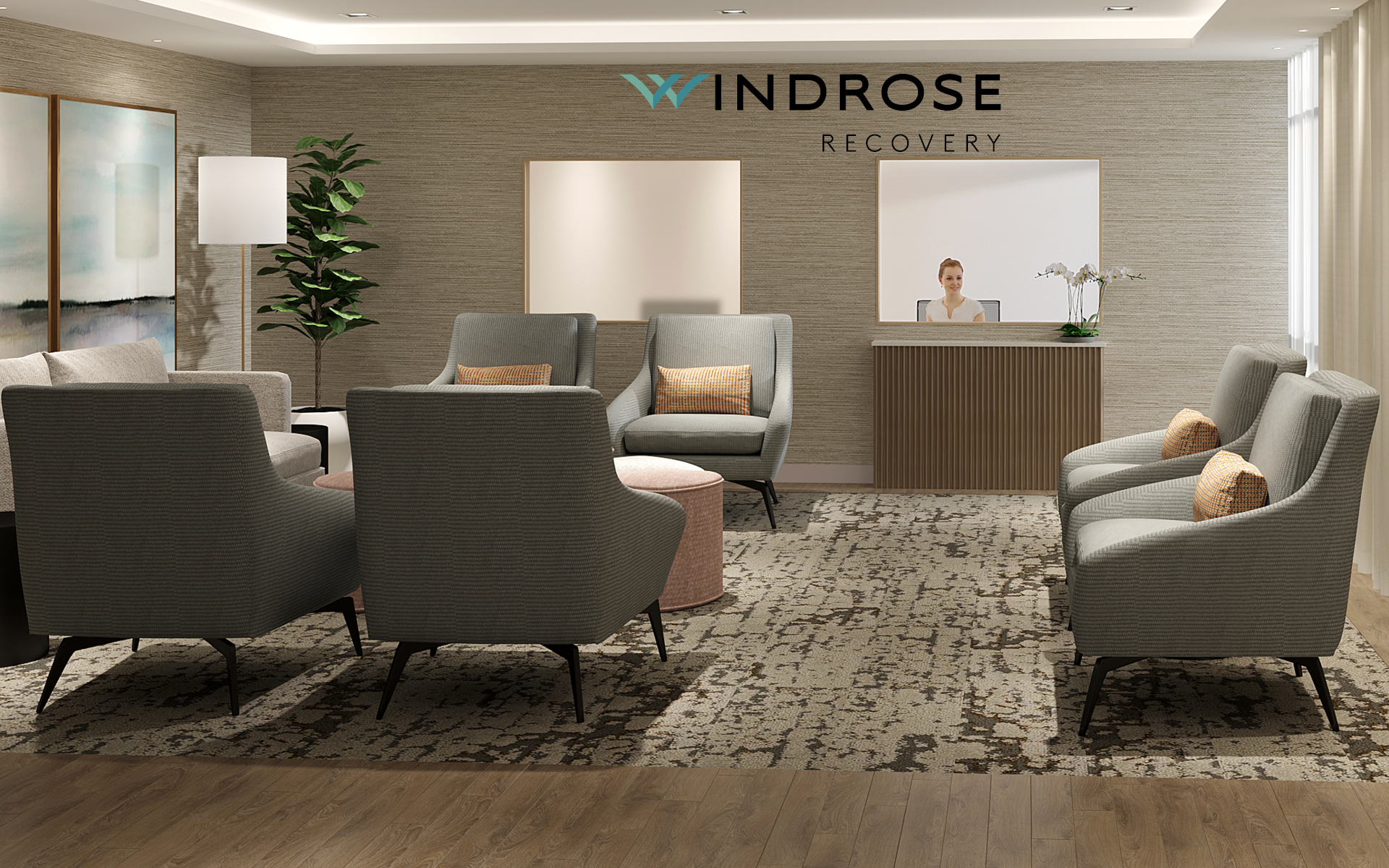 Windrose Recovery - PHOTO - 2020 - WEBSITE - LOBBY with LOGO on Wall